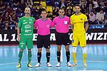 League LNFS 2017/2018 - Game 10.<br /> FC Barcelona Lassa vs CA Osasuna Magna: 3-3.<br /> Eseverri &amp; Paco Sedano con los arbitros del encuentro.