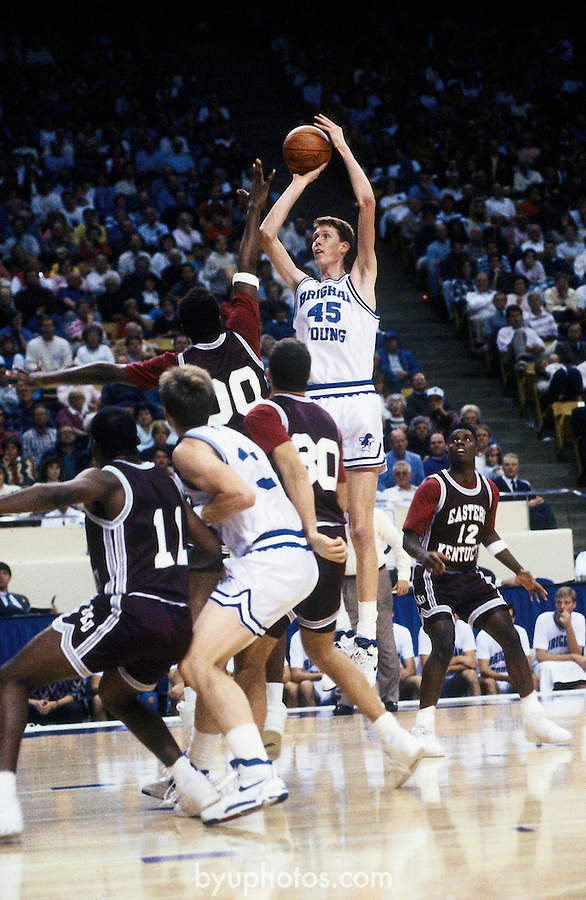 Bradley vs. E-Kentucky<br /> <br /> Basketball Cougar Classic vs Eastern Kentucky<br /> 45 Shawn Bradley<br /> <br /> Photo by Mark A. Philbrick/BYU<br /> <br /> Copyright BYU Photo 2012<br /> All Rights Reserved<br /> photo@byu.edu  (801)422-7322