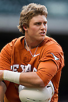 Texas Longhorns first baseman Kacy Clemens #42 during the NCAA baseball game against the Houston Cougars on March 1, 2014 during the Houston College Classic at Minute Maid Park in Houston, Texas. The Longhorns defeated the Cougars 3-2. (Andrew Woolley/Four Seam Images)