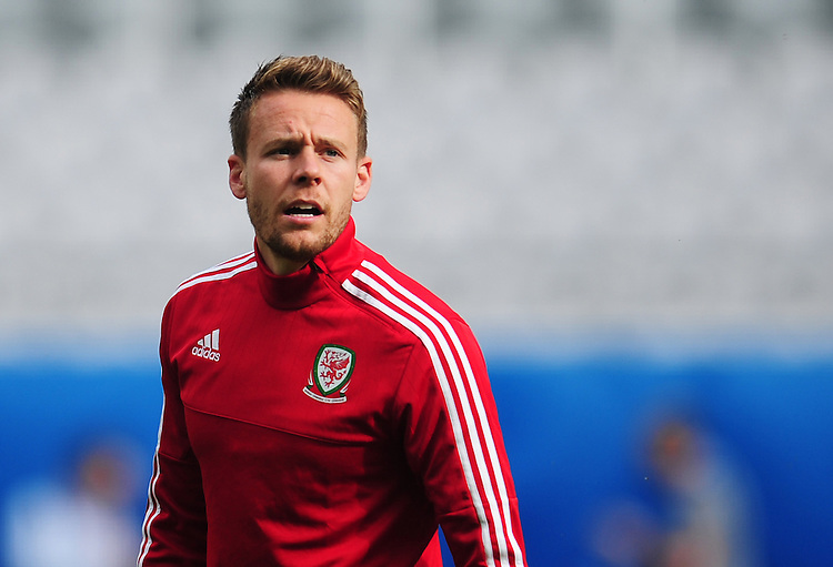 Wales's Chris Gunter during todays training session<br /> <br /> Photographer Kevin Barnes/CameraSport<br /> <br /> International Football - 2016 UEFA European Championship - Training Session - Group B - England v Wales - Wednesday, 15th June 2016 - Stade Bollaert-Delelis, Lens Agglo, France<br /> <br /> World Copyright &copy; 2016 CameraSport. All rights reserved. 43 Linden Ave. Countesthorpe. Leicester. England. LE8 5PG - Tel: +44 (0) 116 277 4147 - admin@camerasport.com - www.camerasport.com
