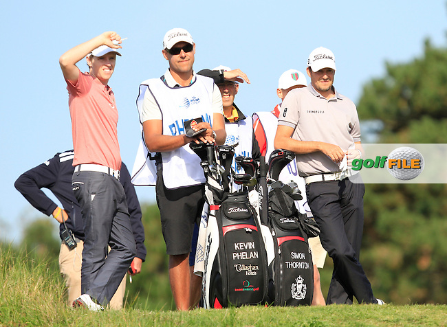 Kevin Phelan (IRL) and Simon Thornton (IRL) on the 17th tee during Round 1 of the 2015 KLM Open at the Kennemer Golf &amp; Country Club in The Netherlands on 10/09/15.<br /> Picture: Thos Caffrey | Golffile