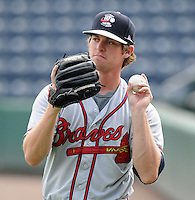 Pitcher Matt Chaffee (24) of the Rome Braves, Class A affiliate of the Atlanta Braves, prior to the first game of a doubleheader against the Greenville Drive on August 15, 2011, at Fluor Field at the West End in Greenville, South Carolina. Rome defeated Greenville, 6-3. (Tom Priddy/Four Seam Images)