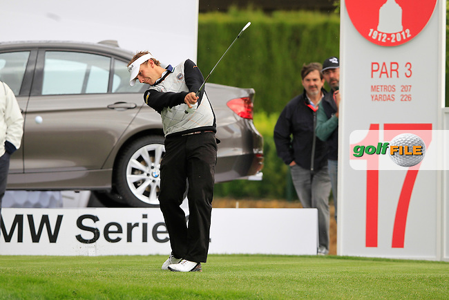 Joost Luiten (NED) tees off on the par3 17th hole during Thursday's Round 1 of the Open de Espana at Real Club de Golf de Sevilla, Seville, Spain, 3rd May 2012 (Photo Eoin Clarke/www.golffile.ie)