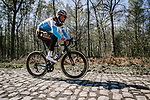 Silvan Dillier (SUI) AG2R La Mondiale recon the cobbles of Arenberg sector before Paris-Roubaix 2019, Wallers, France. 11th April 2019<br /> Picture: ASO/Pauline Ballet | Cyclefile<br /> All photos usage must carry mandatory copyright credit (© Cyclefile | ASO/Pauline Ballet)