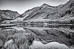 Black and white image of North Lake, CA near Bishop with reflection in the water