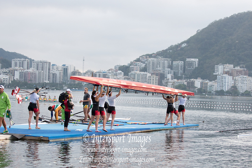 Rio de Janeiro. BRAZIL CAN W8+ Boating, General view of the boat park.  2016 Olympic Rowing Regatta. Lagoa Stadium,<br /> Copacabana,  &ldquo;Olympic Summer Games&rdquo;<br /> Rodrigo de Freitas Lagoon, Lagoa. Local Time 06:54:34  Tuesday  09/08/2016<br /> [Mandatory Credit; Peter SPURRIER/Intersport Images]