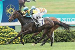 Jockey Sam Clipperton(L) riding Hit A Home Run crosses the finish line to win the Race 1 - Bering Sea Handicap  on 07 May 2017, at the Sha Tin Racecourse  in Hong Kong, China. Photo by Chris Wong / Power Sport Images