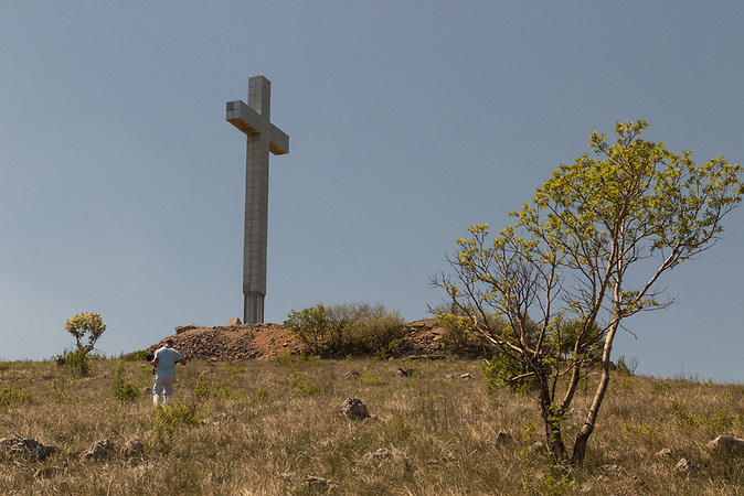 A cross on Hum hill which is located over Mostar.