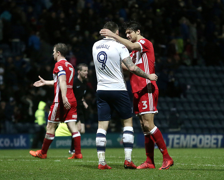 Middlesbrough's George Friend consoles Preston North End's Jordan Hugill at the final whistle<br /> <br /> Photographer Rich Linley/CameraSport<br /> <br /> The EFL Sky Bet Championship - Preston North End v Middlesbrough - Monday 1st January 2018 - Deepdale Stadium - Preston<br /> <br /> World Copyright &copy; 2018 CameraSport. All rights reserved. 43 Linden Ave. Countesthorpe. Leicester. England. LE8 5PG - Tel: +44 (0) 116 277 4147 - admin@camerasport.com - www.camerasport.com