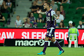 9th January 2018, nib Stadium, Perth, Australia; A League football, Perth Glory versus Melbourne City; Adam Taggart of the Perth Glory questions the referees decision during the first half