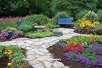 63821-21619 Blue bench, bird bath, butterfly house and stone path in flower garden.  Black-eyed Susans (Rudbeckia hirta)  Red Dragon Wing Begonias (Begonia x hybrida) Homestead Purple Verbena, New Gold Lantana, Red Verbena, Butterfly Bushes, Zinnias, Raspberry Blast Petunias, Diamond Frost Eupatorium, Raspberry Wine Monarda Bee Balm,  Marion Co., IL