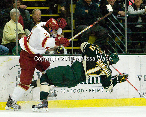 John Ryder (Denver - 24), Matt Marshall (Vermont - 17) - The visiting Denver University Pioneers defeated the University of Vermont Catamounts 5-3 (EN) on Friday, October 8, 2010, at Gutterson Fieldhouse in Burlington, Vermont.