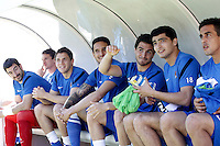 Real Sociedad's Jon Ansotegui, Enaut Zubikarai, Gorka Elustondo, Liassine Cadamuro, Javier Ros, Chory Castro and Diego Ifran during La Liga match.April 14,2013. (ALTERPHOTOS/Acero)
