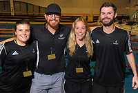 Swimming NZ staff, from left: Amy Dalzell, Kent Stead, Shannon Courtney and Keegan McCauley.  Session ten on day five of the 2017 National Age Group Swimming Championships at  Wellington Regional Aquatic Centre in Wellington, New Zealand on Saturday, 25 March 2017. Photo: Dave Lintott / lintottphoto.co.nz