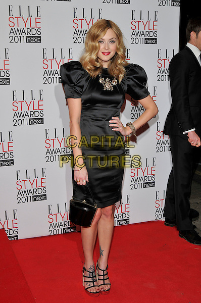 FEARNE COTTON.The ELLE Style Awards 2011 at Grand Connaught Rooms, London, England..February 14th, 2011 .full length black puff sleeve dress hand on hip necklace bag handbag strappy sandals platform .CAP/PL.©Phil Loftus/Capital Pictures.