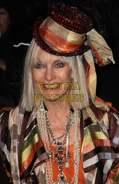 VIRGINIA McKENNA .Arrivals at The Love Ball, the Roundhouse, Camden, London , England, UK, February 23rd 2010.portrait headshot smiling necklace black orange hat pearls yellow .CAP/JIL.©Jill Mayhew/Capital Pictures.