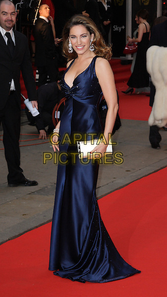 KELLY BROOK.Red Carpet Arrivals for the British Academy Television Awards 2008, held at the London Palladium, London, England, .April 20th 2008.BAFTA BAFTA's full length blue silk satin dress long white clutch bag .CAP/ROS.©Steve Ross/Capital Pictures.