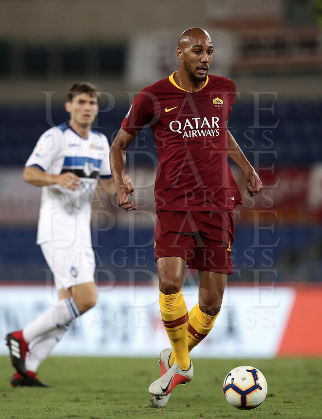 Calcio, Serie A: Roma - Atalanta, Stadio Olimpico, 27 agosto, 2018.<br /> in action with during the Italian Serie A football match between Roma and Atalanta at Roma's Stadio Olimpico, August 27, 2018.<br /> UPDATE IMAGES PRESS/Isabella Bonotto