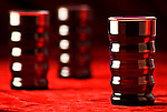 Red glass tumblers