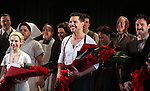 Elena Roger, Ricky Martin & Max Von Essen with the Company.during the Broadway Opening Night Performance Curtain Call for 'EVITA' at the Marquis Theatre in New York City on 4/5/2012