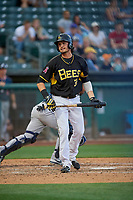 Jarrett Parker (32) of the Salt Lake Bees bats against the Reno Aces at Smith's Ballpark on June 27, 2019 in Salt Lake City, Utah. The Aces defeated the Bees 10-6. (Stephen Smith/Four Seam Images)