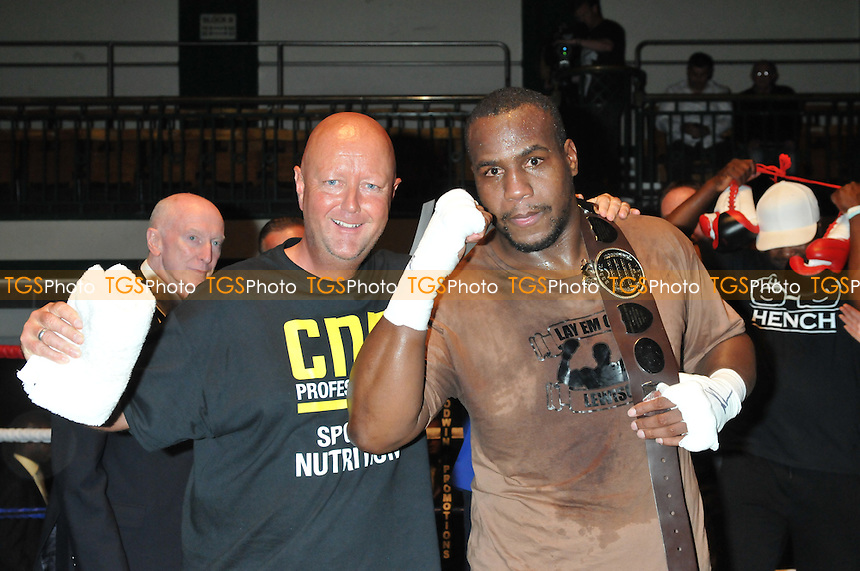 Dean Powell (L) with boxer Ian Lewison at York Hall, Bethnal Green, promoted by Goodwin Main Events - 07/09/13 - MANDATORY CREDIT: Philip Sharkey/TGSPHOTO - Self billing applies where appropriate - 0845 094 6026 - contact@tgsphoto.co.uk - NO UNPAID USE