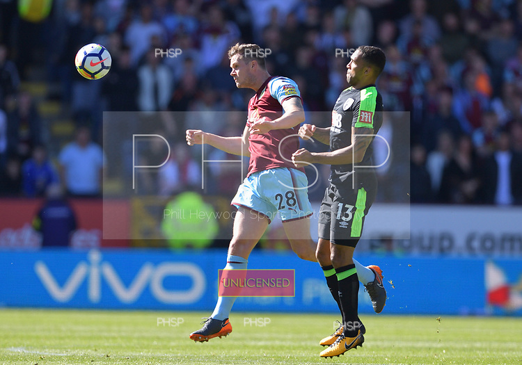 13/05/2018 Premier League Burnley v AFC Bournemouth<br /> <br /> Kevin Long challenged by Callum Wilson