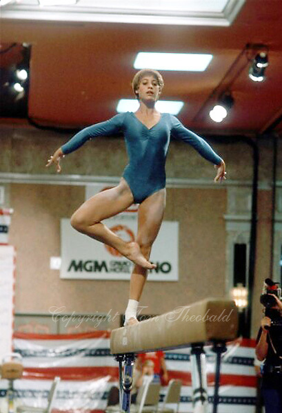 August 15, 1981; Reno, Nevada, USA; Artistic gymnast Beth Pope of USA performs on balance beam at USGF Single Elimination tournament at Reno.  Copyright 1981 Tom Theobald.