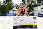 01.08.2020, Düsseldorf / Duesseldorf, Merkur Spiel-Arena<br /> Beachvolleyball, comdirect Beach Tour<br /> Road to Timmendorfer Strand, Halbfinale<br /> Svenja Müller / Mueller / Sarah Schulz vs. Larissa Claaßen / Claassen / Nina Interwies <br /> <br /> Larissa Claaßen / Claassen und Nina Interwiesmit dem Ticket zur Deutschen Meisterschaft<br /> <br />   Foto © nordphoto / Kurth