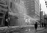 Pittsburgh PA:  City firemen fighting the Jackson Building fire in downtown 1948