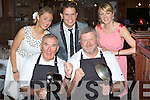 CELEBERITY: A fundraising night was held in The Station House Bar & Restaurant for Focus Ireland by hosting a celebrity chef night. front l-r: Wheesie Fogarty and Eoin Liston. Back l-r: Caroline Matthews (organiser), Lee Bradshaw (host and MC) and Kate Spillane(organiser)..