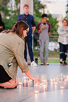 Emerson College Students, Faculty, and guests gather at the iconic band stand monument in the Boston Common to hold vigil for those who passed during the tragedy of 9/11.