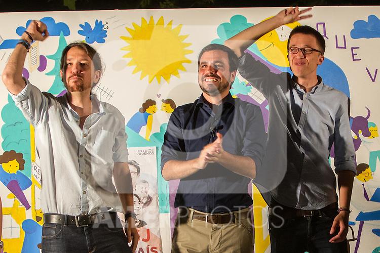 Pablo Iglesias, Inigo Errejon and Alberto Garzon during the start of the electoral campaign of Unidos Podemos, with the traditional putting up electoral posters. Jun 09,2016. (ALTERPHOTOS/Rodrigo Jimenez)