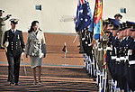 Prime Minister of Thailand Yingluck Shinawatra inspects the Federation Guard during a ceremonial welcome at Parliament House, Canberra, on Monday May 28th 2012. AFP PHOTO / Mark GRAHAM