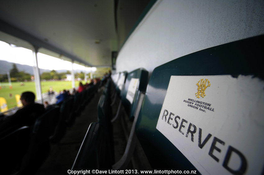 Reserved seats in the grandstand during the  Hurricanes Super 15 rugby training at Hutt Recreation Ground, Lower Hutt, Wellington, New Zealand on Thursday, 24 January 2013. Photo: Dave Lintott / lintottphoto.co.nz