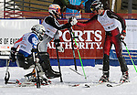 March 4, 2012: Gerald Hayden (25), Adam Hall (11) and Jamie Stanton (13) congratulate each other following the final round of the World Disabled Ski Invitational Championships, Winter Park, Colorado.
