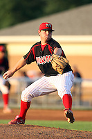 August 22 2008:  Pitcher Scott Gorgen of the Batavia Muckdogs, Class-A affiliate of the St. Louis Cardinals, during a game at Dwyer Stadium in Batavia, NY.  Photo by:  Mike Janes/Four Seam Images