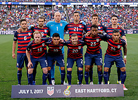 East Hartford, CT - Saturday July 01, 2017: USMNT starting eleven vs Ghana during an international friendly game between the men's national teams of the United States (USA) and Ghana (GHA) at Pratt & Whitney Stadium.