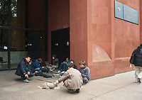 New York, NY -  2 November 2012  NYU students charge their cell phones and laptop computers at a maintenance electrical outside Bobst Library, in the aftermath of Hurricane Sandy.