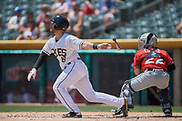 Joe Hudson (19) of the Salt Lake Bees bats against the El Paso Chihuahuas at Smith's Ballpark on July 8, 2018 in Salt Lake City, Utah. El Paso defeated Salt Lake 15-6. (Stephen Smith/Four Seam Images)