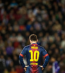 VALLADOLID, SPAIN - DECEMBER 22:  Lionel Messi of FC Barcelona reacts after missing an opportunity to score during the La Liga game between Real Valladolid and FC Barcelona at Jose Zorrilla on December 22, 2012 in Valladolid, Spain. Photo by Victor Fraile / The Power of Sport Images