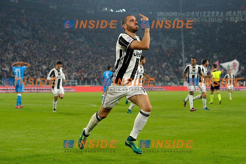 Esultanza Gol Leoanrdo Bonucci Juventus Goal celebration <br /> Torino 29-10-2016 Juventus Stadium Football Calcio Serie A 2016/2017 Juventus - Napoli . Foto Filippo Alfero Insidefoto