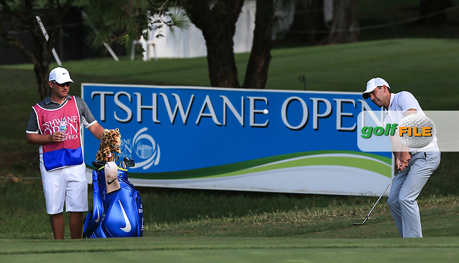 Charl Schwartzel (RSA) chips up to the 17th during the Final Round of the 2016 Tshwane Open, played at the Pretoria Country Club, Waterkloof, Pretoria, South Africa.  14/02/2016. Picture: Golffile | David Lloyd<br /> <br /> All photos usage must carry mandatory copyright credit (&copy; Golffile | David Lloyd)