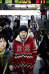 Tokyo, February 15 2011 - Portrait of Japanese writer Hideo Furukawa in front of the gates of Nishi-Ogikubo train station.
