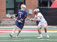 College Park, MD - May 13, 2018: Robert Morris Colonials Ryan Smith (1) tries to get pass a Maryland Terrapins defender during the NCAA first round game between Robert Morris and Maryland at  Capital One Field at Maryland Stadium in College Park, MD.  (Photo by Elliott Brown/Media Images International)