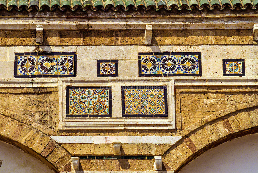 Tunis, Tunisia.  Examples of the Work of Sidi Kacem Al-Jalizi, died 1496.   Sidi Kacem is Tunisia's most famous ceramic artist.  Zawiya of Sidi Kacem Al-Jalizi, build 17th-18th Centuries, restored 20th. Century.