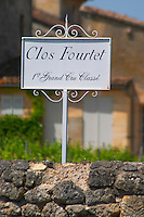 A white sign saying Clos Fourtet 1er premier first Grand Cru Classe  Saint Emilion  Bordeaux Gironde Aquitaine France