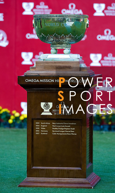 The 54th Omega Mission Hills World Cup of Golf trophy is displayed during the final day on November 30, 2008 in Shenzhen, China. Photo by Victor Fraile