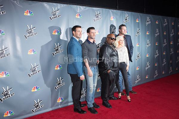 "UNIVERSAL CITY, CA - NOVEMBER 07:Carson Daly, Cee Lo Green, Christina Aguilera Adam Levine and Blake Shelton at NBC's ""The Voice"" Season 5 Top 12 in Universal City Plaza, on November 7th, 2013 in Universal City, California Photo Credt: RTNRossi / MediaPunch Inc."