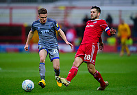 Accrington Stanley's Seamus Conneely under pressure from Lincoln City's Jake Hesketh<br /> <br /> Photographer Andrew Vaughan/CameraSport<br /> <br /> The EFL Sky Bet League One - Accrington Stanley v Lincoln City - Saturday 15th February 2020 - Crown Ground - Accrington<br /> <br /> World Copyright © 2020 CameraSport. All rights reserved. 43 Linden Ave. Countesthorpe. Leicester. England. LE8 5PG - Tel: +44 (0) 116 277 4147 - admin@camerasport.com - www.camerasport.com